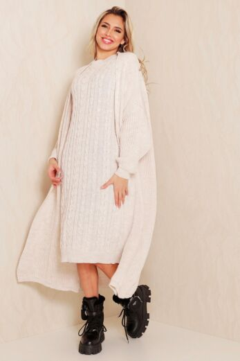 Evie Knitted Two Piece Dress Creme