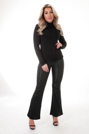 Eve Charlie Glitter Flare Pants Black Front