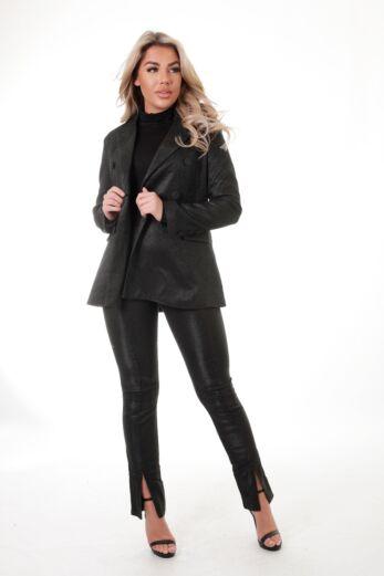 Eve Charlie Glitter Split Pants Black Front
