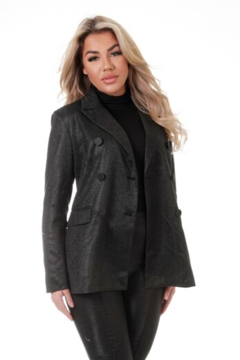 Eve Charlie Glitter Blazer Black Close