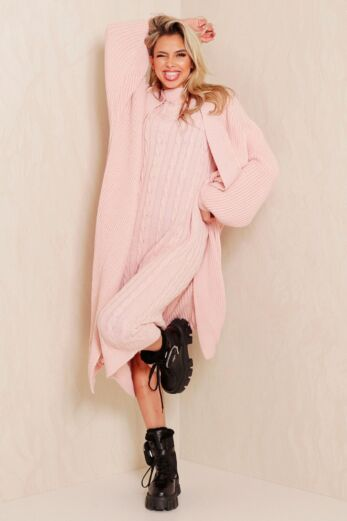 Evie Knitted Two Piece Dress Blush