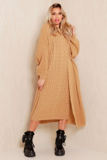 Evie Knitted Two Piece Dress Sand