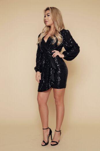 Liv Mermaid Sequin Dress Black