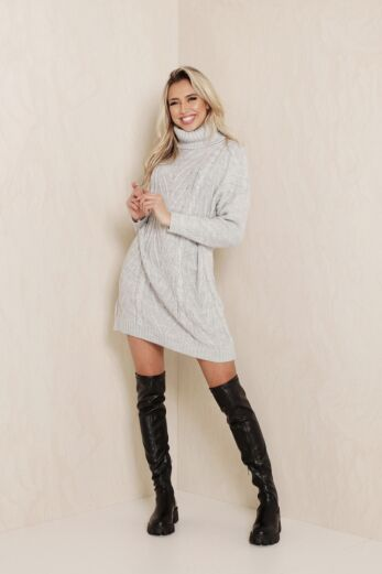 Rose Knitted Coll Dress Grey