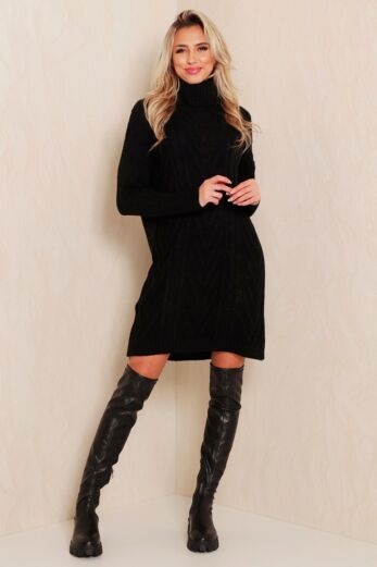 Eve Rose Knitted Coll Dress Black Side