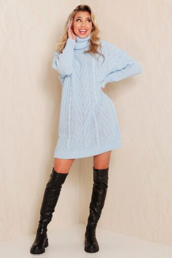 Rose Knitted Coll Dress Blue