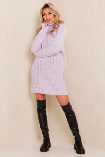 Rose Knitted Coll Dress Lila