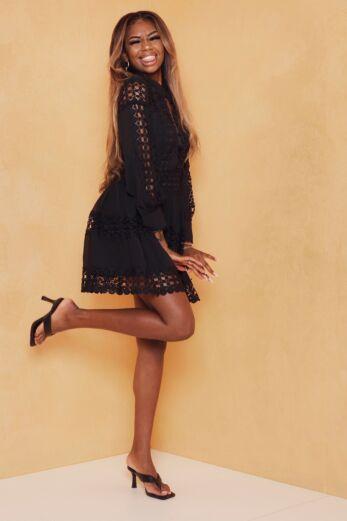 Yacht Days Lace Dress Black