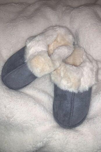 Classic Fluffy Slides Grey