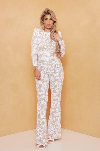 Unique the Label Avery Lace Jumpsuit White Front