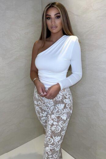 Unique the Label Avery Lace Pants White Close
