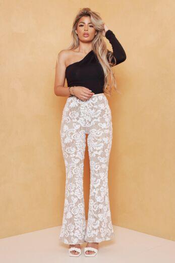 Avery Lace Pants White