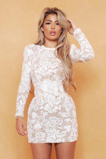 Unique the Label Avery Lace Dress White Close Up