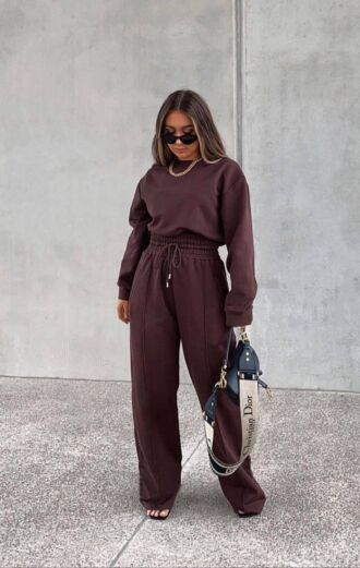 Eve Lazy Wide Leg Joggers Chocolate Sfeer 1