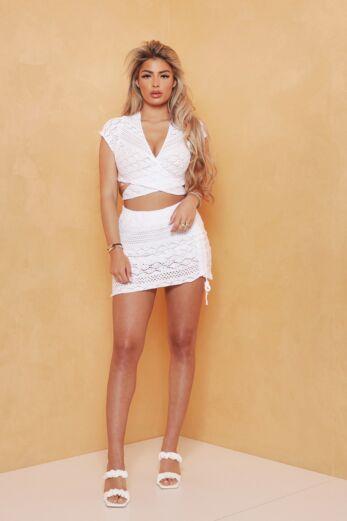 Hot Outside Knit Set White