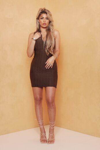 Olivia Zip Halter Dress Chocolate