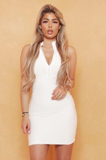 Unique the Label Olivia Zip Halter Dress White Close Up