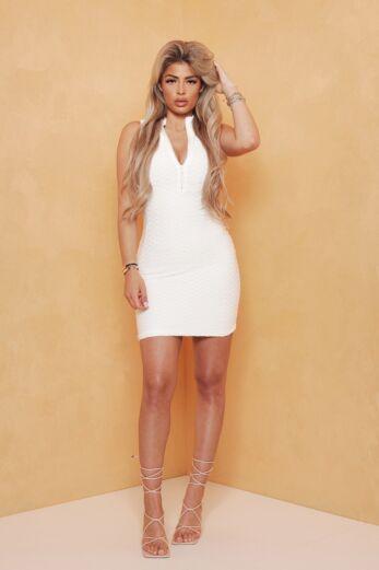 Olivia Zip Halter Dress White