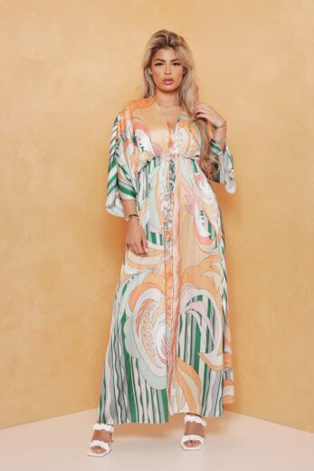 Eve Exclusive Soulfull Satin Maxi Dress Green Front