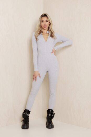 Dina Ribbed Zipper Jumpsuit Grey