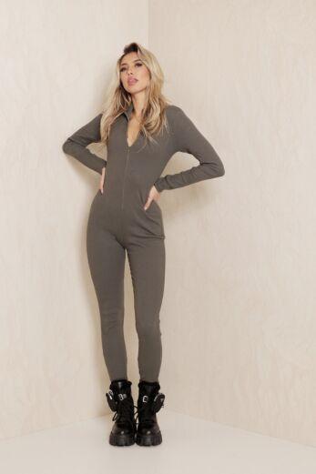Dina Ribbed Zipper Jumpsuit Dark Grey
