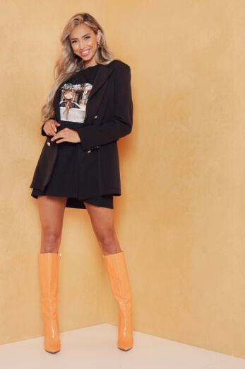Eve Rina Button Blazer Black Front