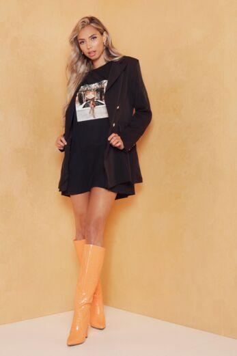 Rina Button Blazer Black