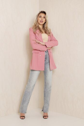 Rina Button Blazer Blush