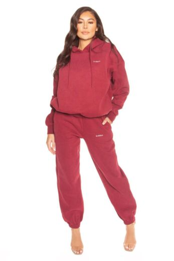 LA Sisters Essential Sweatpants Bordeaux Front