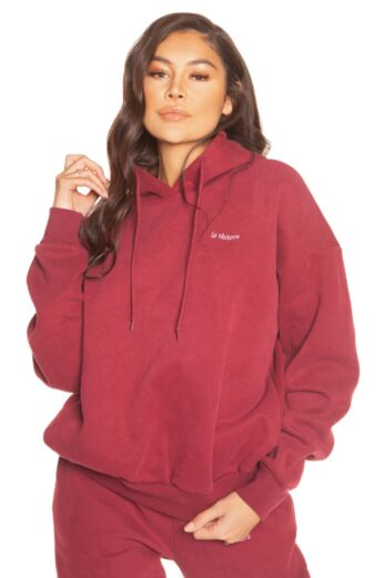 LA Sisters Essential Hoodie Burgundy Close