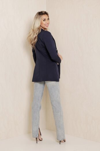 Rina Button Blazer Navy