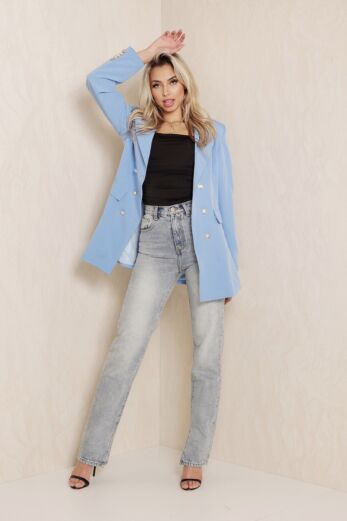 Rina Button Blazer Baby Blue