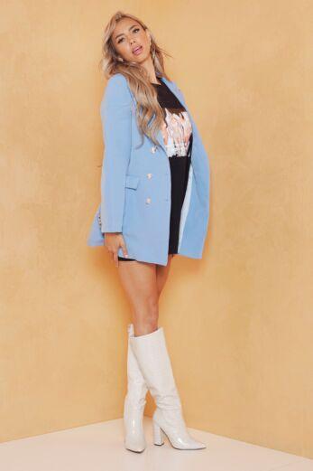 Eve Rina Button Blazer Baby Blue Side 1