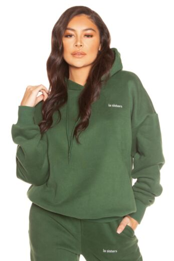 LA Sisters Essential Hoodie Green Close