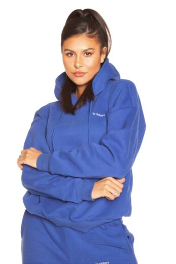 LA Sisters Essential Hoodie Blue Close