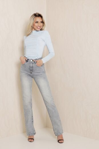 Slinky Ruched Top Baby Blue