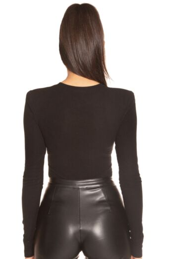Ribbed Shoulder Pad Bodysuit