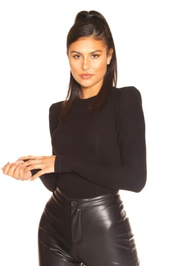 LA Sisters Ribbed Shoulder Pad Bodysuit Front