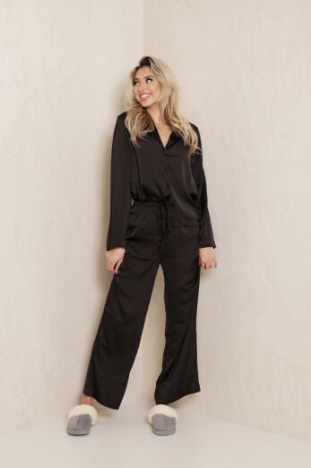 Eve Nika PJ Satin Set Black Front