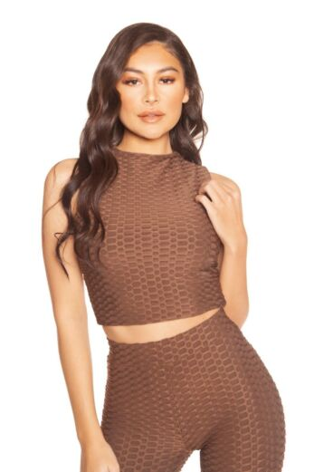 LA Sisters Honeycomb Crop Top Brown