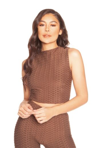 Honeycomb Crop Top Brown
