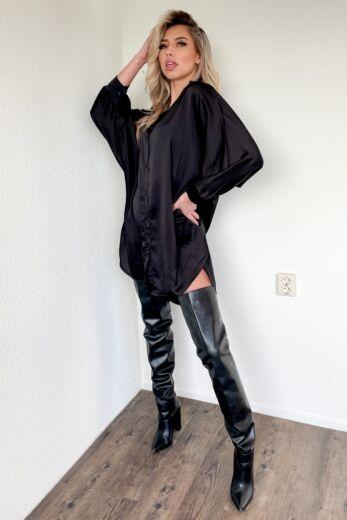 Satin Oversized Blouse Dress Black