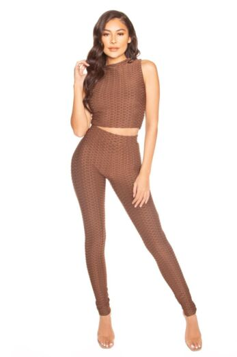 LA Sisters Honeycomb High Waisted Legging Brown Front
