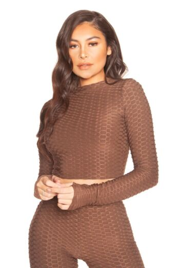 LA Sisters Honeycomb Long Sleeve Crop Top Brown Front