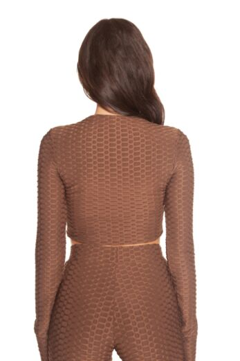 Honeycomb Long Sleeve Crop Top Brown