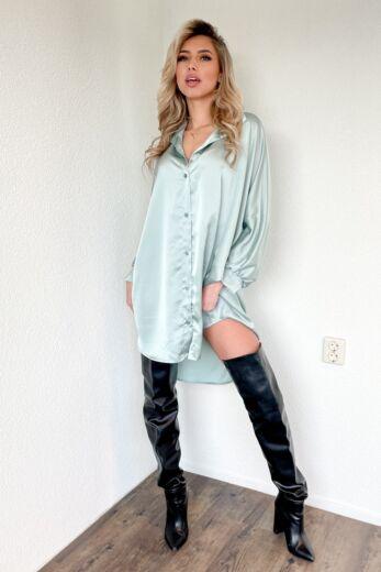 Satin Oversized Blouse Dress Mint