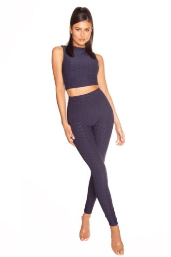 LA Sisters Honeycomb High Waisted Legging Navy Front