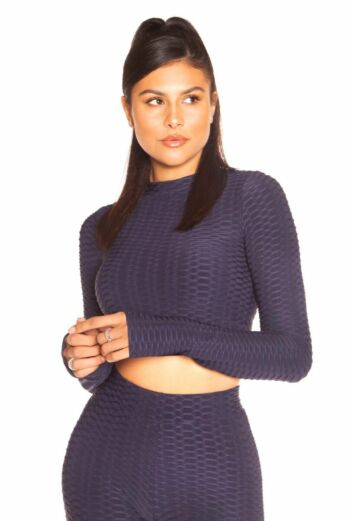 LA Sisters Honeycomb Long Sleeve Crop Top Navy