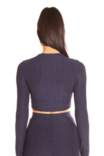 Honeycomb Long Sleeve Crop Top Navy