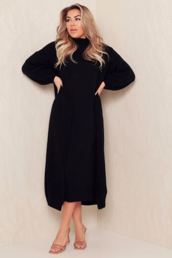 Satisfied Knitted Turtle Neck Set Black
